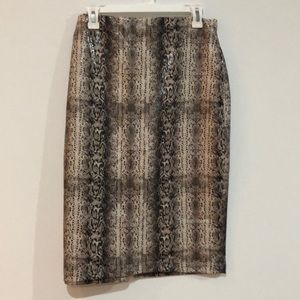 Pleather snake skin pencil skirt, NWT